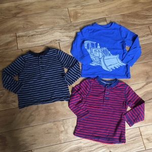 Boys Old Navy Long Sleeve Tops striped and tractor